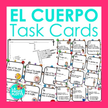 48 Spanish Body Part Vocabulary Task Cards
