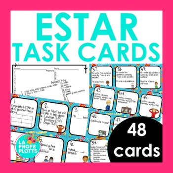 Spanish El Verbo ESTAR (To Be) Task Cards