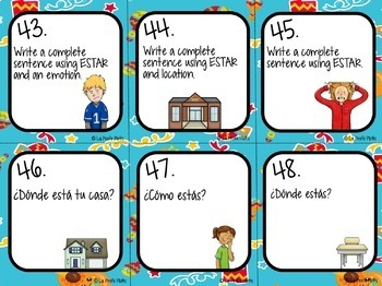 48 Spanish El Verbo ESTAR (To Be) Task Cards