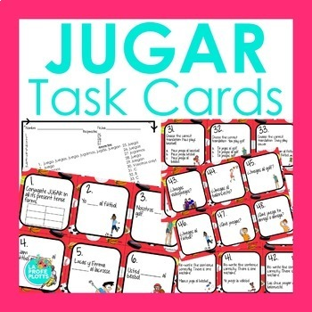 48 Spanish El Verbo JUGAR Task Cards