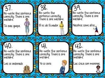 Spanish El Verbo SER (To Be) Task Cards