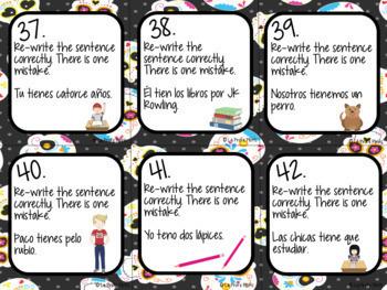 48 Spanish El Verbo TENER (To Have) Task Cards