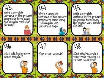 Spanish Present Progressive Tense Task Cards