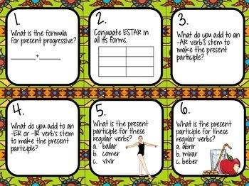 48 Spanish Present Progressive Tense Task Cards
