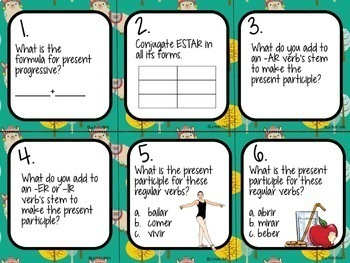 48 Spanish Present Progressive Tense Task Cards (REGULAR VERBS ONLY)