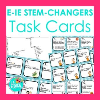 48 Spanish Present Tense E-IE Stem-changers Task Cards