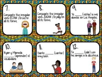 Spanish Present Tense Task Cards (Regular verbs & IR, ESTAR, JUGAR, TENER y SER)