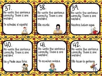 Spanish Present Tense Task Cards (REGULAR VERBS ONLY)