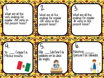 48 Spanish Present Tense Task Cards (REGULAR VERBS ONLY)