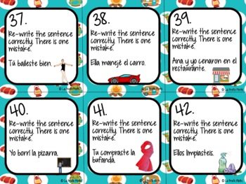 48 Spanish Preterite Tense Task Cards (REGULAR -AR VERBS ONLY)