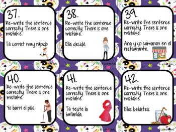 48 Spanish Preterite Tense Task Cards (REGULAR -ER/-IR VERBS ONLY)