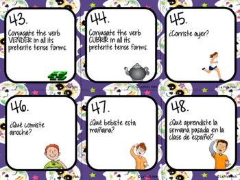 48 Spanish Preterite Tense Task Cards (REGULAR -ER/-IR VERBS ONLY)