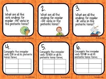 48 Spanish Preterite Tense Task Cards (Regular and Irregular Verbs)