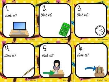 48 Spanish School Vocabulary Task Cards
