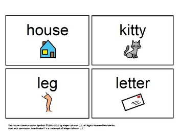 48 Visual (BOARDMAKER) Sight Words Flashcards for Autism or Early Readers