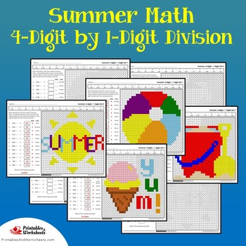 Summer 4-Digit by 1-Digit Division Coloring Pages