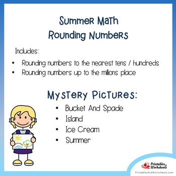 Summer Rounding Numbers Coloring Pages