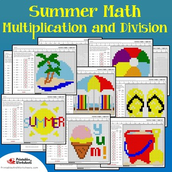Summer Multiplication Division Coloring Worksheets, Summer Math Coloring Pages