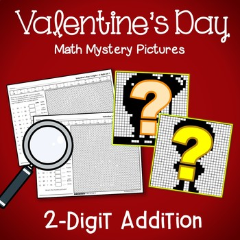 Math Mystery Picture Valentine Color By Addition, February Math Morning Work