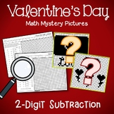 Valentine's Day 2 Digit Subtraction Coloring Pages
