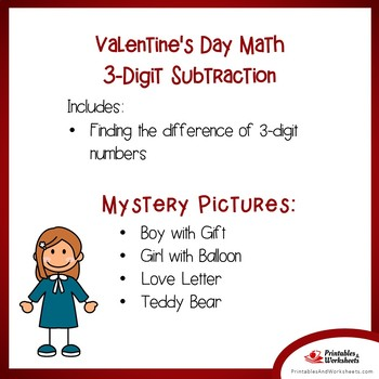 Valentine's Day 3 Digit Subtraction Coloring Pages