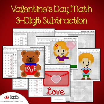 Subtract And Color Valentine Subtraction Activity Sheet, February Math 2nd Grade