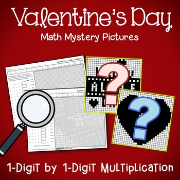 Valentine's Day 1-Digit by 1-Digit Multiplication Coloring Pages
