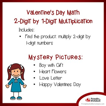 Mystery Math Pictures Multiplication Practice, Valentine Color Multiplication