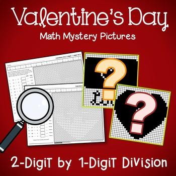 Valentine's Day 2-Digit by 1-Digit Division Coloring Pages