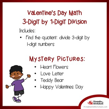 Color Valentines Math Division, Valentine Day Division Coloring Worksheets