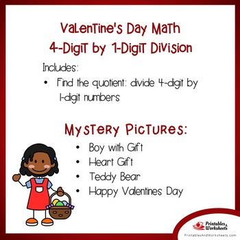 Valentine's Day 4-Digit by 1-Digit Division Coloring Pages