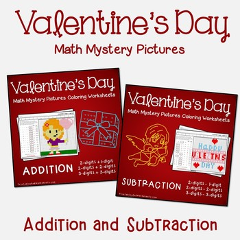 Relationship Of Addition & Subtraction Color By Number Valentines Coloring Math