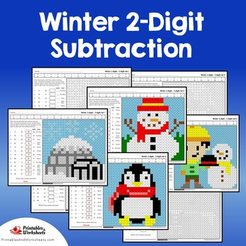 Winter 2 Digit Subtraction Coloring Pages