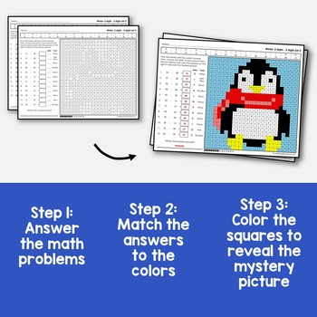 Color By Subtraction Winter Number Activity, Math Mystery Pictures 2nd Grade