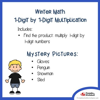 Winter 1-Digit by 1-Digit Multiplication Coloring Pages