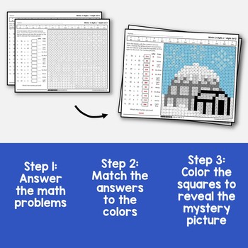 Winter 2-Digit by 1-Digit Multiplication Coloring Pages