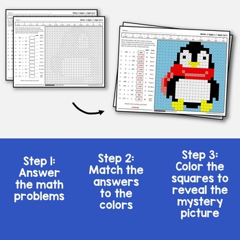 3x1 Multiplication Coloring Worksheet Winter Mystery Math Sheets