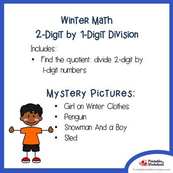 Mystery Picture Division Worksheets, Color By Number Math Winter Activity