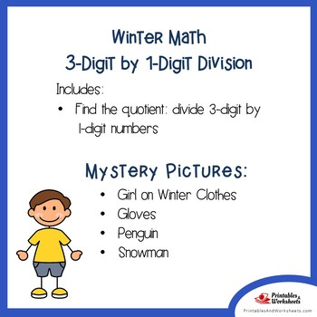 Long Division Coloring Page, Math Winter Worksheets Mystery Picture Activity