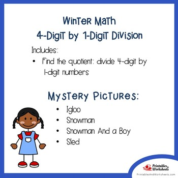 Winter 4-Digit by 1-Digit Division Coloring Pages