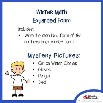 Math Mystery Pictures Place Value Winter, Expanded Form Coloring Pages