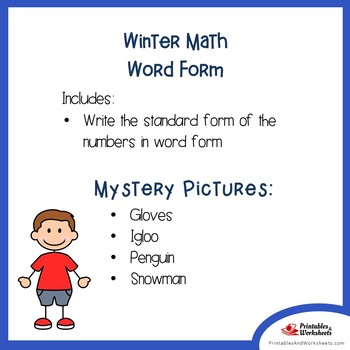 Winter Math Mystery Pictures Place Value Word Form Coloring Worksheets