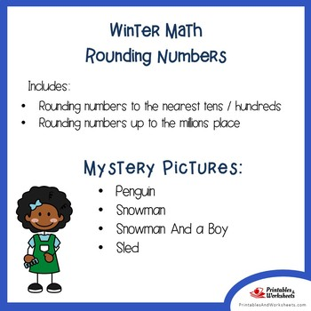 Winter Rounding Numbers Coloring Pages