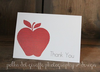 4.875 x 3.5 Apple Thank You Folded Note Cards