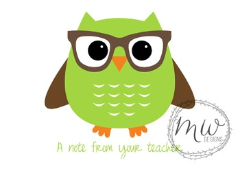 4.875 x 3.5 Owl with Glasses Folded Note Cards