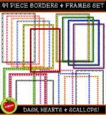 49 Piece Dash, Heart And Scallop Borders And Frames (Comme