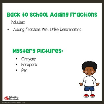 Back to School Adding Fractions With Unlike Denominators