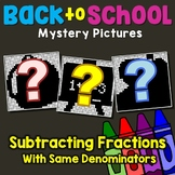 Subtracting Fractions With Like Denominators Activity Mystery Picture Worksheets