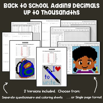 Back to School Adding Decimals Up to Thousandths