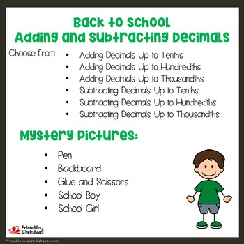 Back to School Adding and Subtracting Decimals